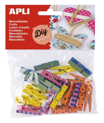 Obrázek Dřevěné kolíčky APLI / mix barev / 20 ks