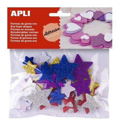 Obrázek Pěnovka hvězdy APLI třpytivé / mix velikostí / samolepicí