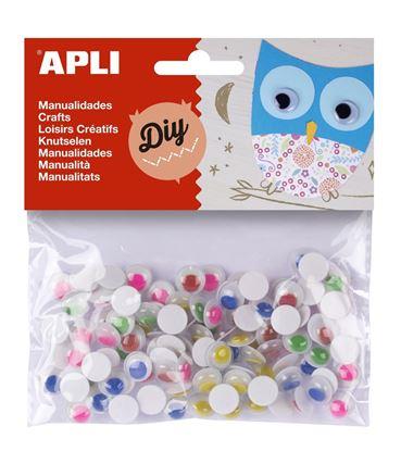 Obrázek Pohyblivé oči APLI kulaté / samolepicí / mix barev / 100 ks
