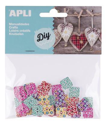 Obrázek Čtvercové knoflíky APLI / mix vzorů / 35 ks