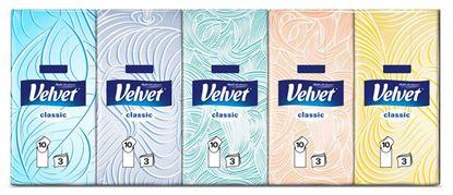 Obrázek Kapesníčky papírové Velvet - třívrstvé / 10 x 10 ks