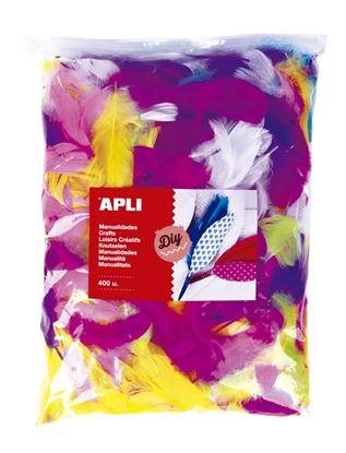 Obrázek Doplňky APLI Jumbo - barevná pírka / mix barev / 400 ks
