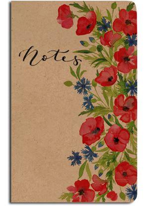Obrázek Notes linkovaný - A5 - kraft - chrpy